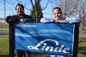 Curtis Marler (right) with Linde Electronics & Specialty Gases in Phillipsburg, NJ, hired and trained lab technician Frank Pinheiro (left) through Ready to Work New Jersey.